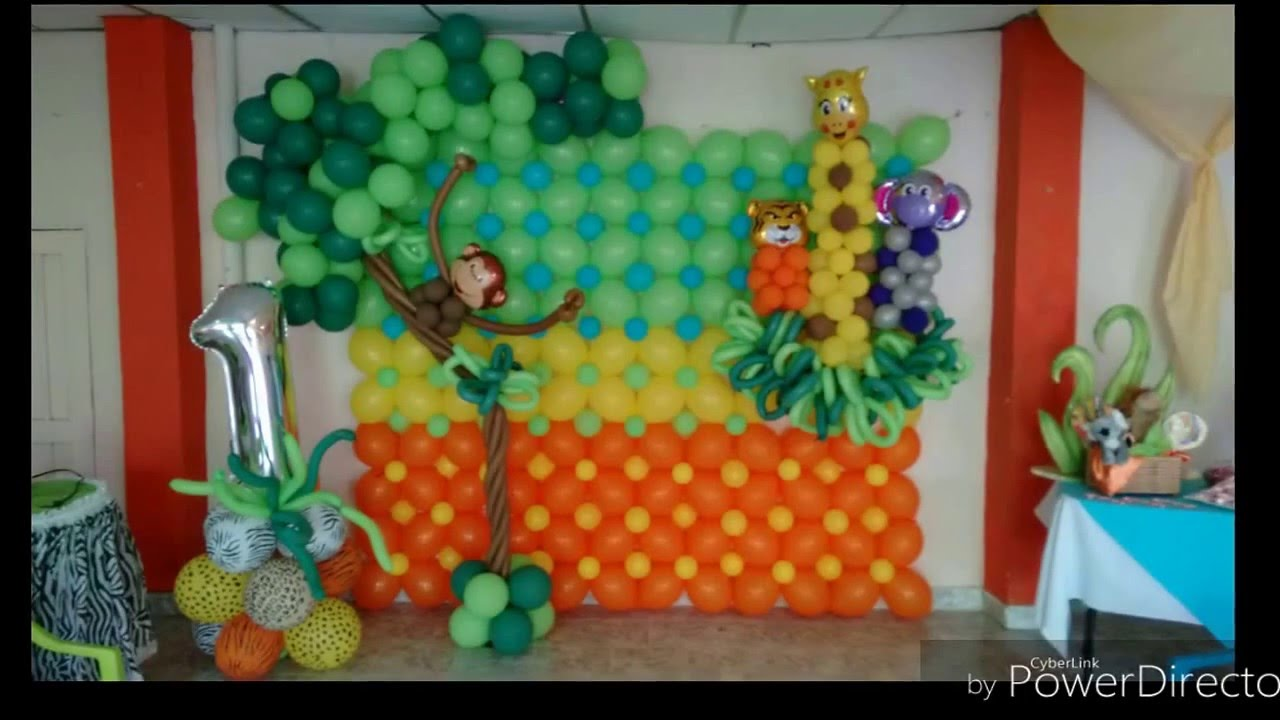 Decoraci n con globos fiesta infantil safari youtube - Decoracion de paredes con fotos ...