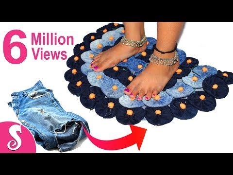 Old Jeans Recycling | Make Awesome Door Mat,Rugs,Table Mat,Carpet from old waste Clothes