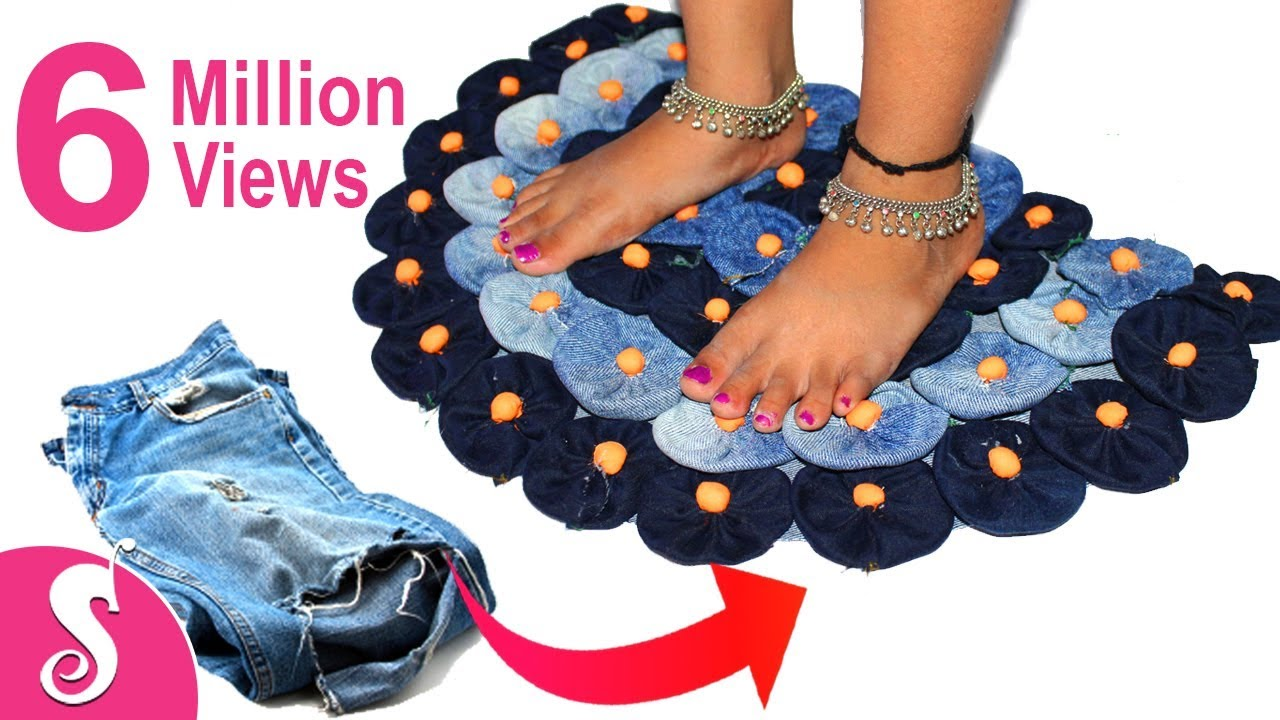 Old Jeans Recycling Make Awesome Door Mat Rugs Table Mat
