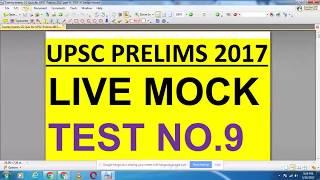 UPSC PRELIMS 2017 - LIVE MOCK TEST NO. 9- QUICK REVISION ONLINE IAS PREPARATION