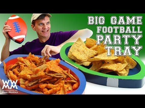 Two-team football-themed party snack tray. Limited tools project.