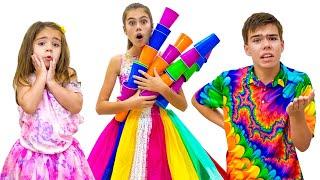 Nastya y Artem hacen vestidos nuevos para fiesta de princesas