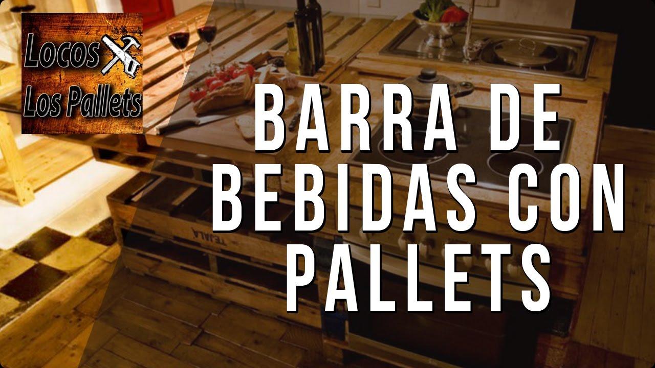 Barra de bebidas con pallets muy f cil locos x los pallets youtube - Como hacer una barra con palets ...