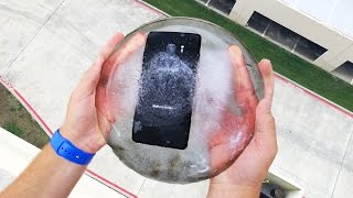 Can Galaxy Note 7 Survive a 100 FT Drop Test Frozen in Ice Block? Epic test!