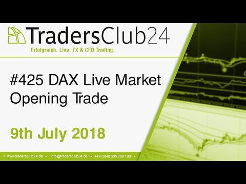 TradersClub24 Dax Open Range Breakout Live Trade 9th July 2018 (Daytrading / Forex / Dax)