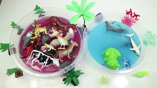Sea , Wild And Pets Animals Droping Water - Learning Animals Toy Cartoon