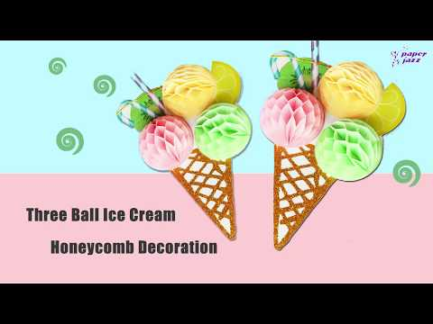 DIY Summer Decor idea -3D paper ice cream honeycomb - Birthday Party Decor