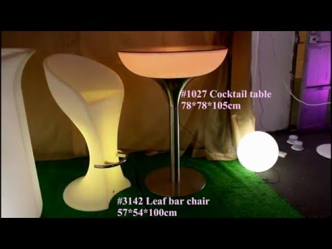 LED high cocktail table and Leaf LED high back chair