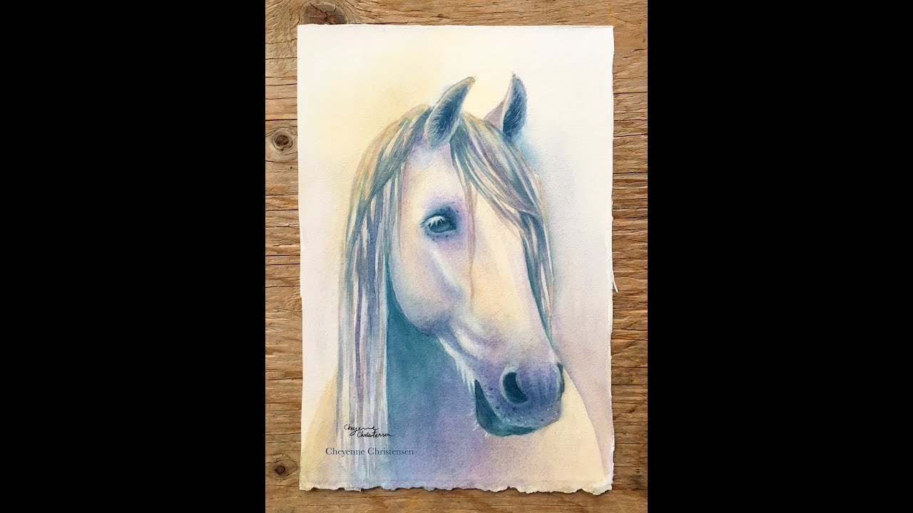 """""""Pearl"""" Watercolour Horse (Time-Lapse)"""