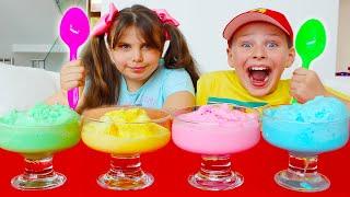 Али и Адриана делают разноцветное вкусное мороженое! История для детей