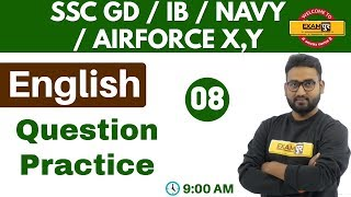 Class 08 ||#SSC GD/IB/AIRFORCE X,Y/NAVY || English || By Prince Sir || Question Practice