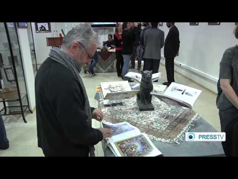 PressTV   Moscow hosts anti war cartoon exhibition