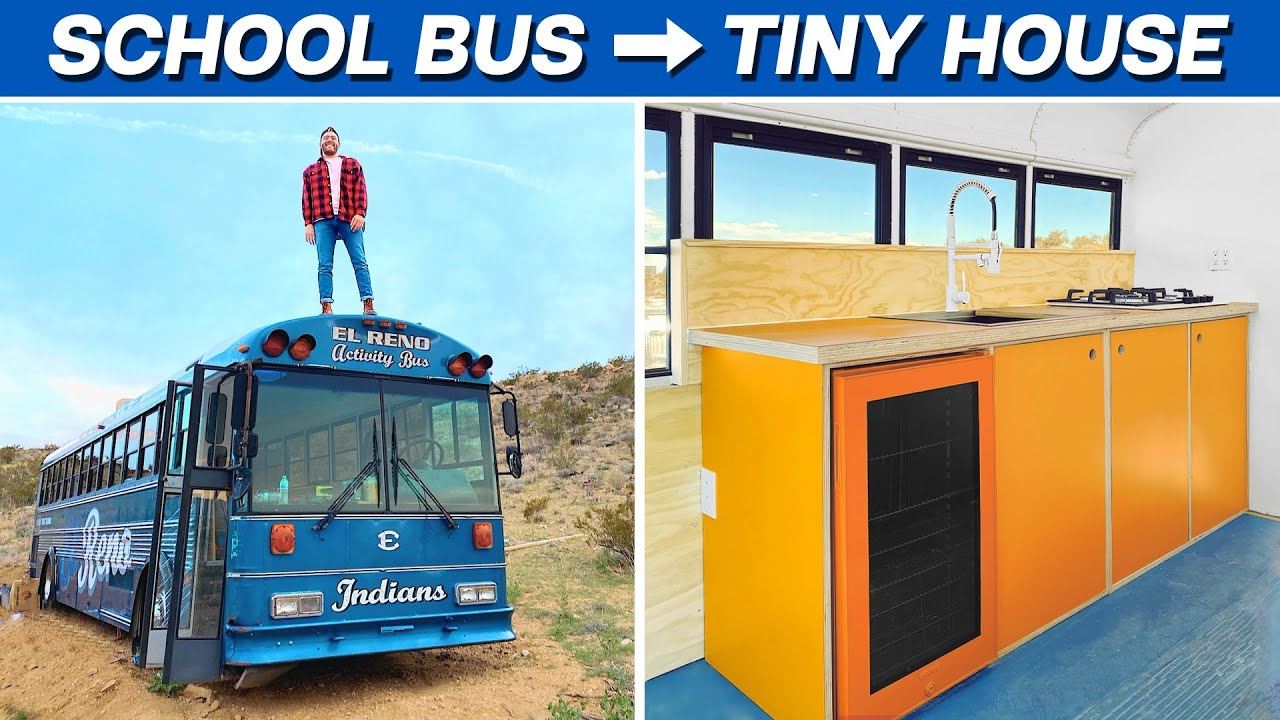 EP. 4: THE KITCHEN | DIY SCHOOL BUS TINY HOUSE CONVERSION | MODERN BUILDS