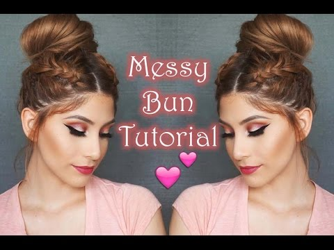 Messy Bun With Braids Tutorial No Heat Hairstyle Youtube