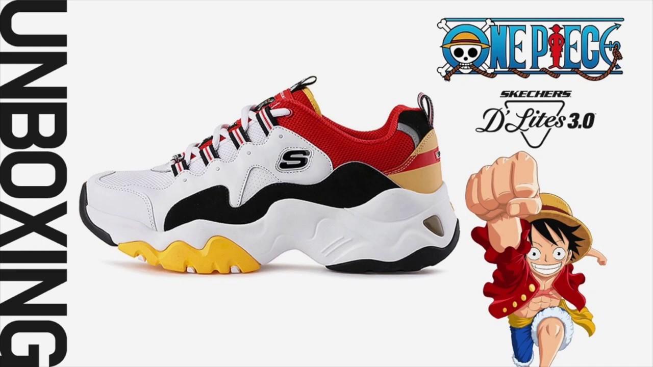 de62cf7ab0141a Skechers Korea x One piece Dlite3 Shoes luffy Unboxing - YouTube