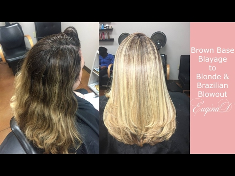 Brown Balayage to Highlighted Blonde and Brazilian Blowout