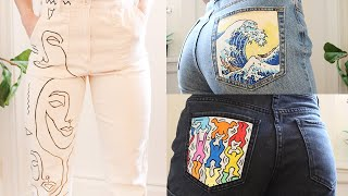 I PAINT MY JEANS | Customized Hand-painted Clothes | Great Wave, Abstract Faces & Keith Haring!
