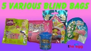 5 Blind Bags, The Trash Pack, Polly pocket, Squinkies, Soft Spots, YooHoo unboxing opening toy