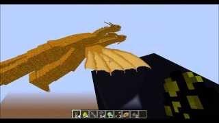 Minecraft Mob Battle:King Ghidorah Vs Mothra!(Both From Godzilla Mod)