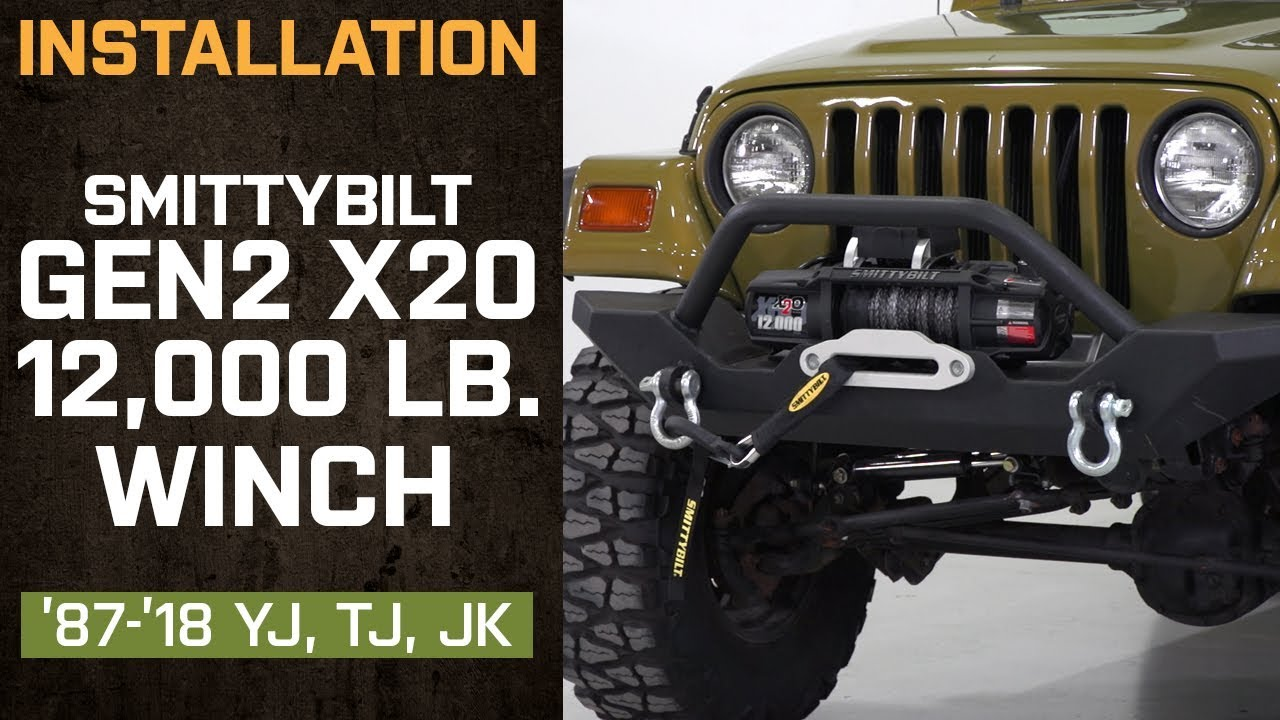 small resolution of install jeep wrangler smittybilt gen2 x2o 12 000 lb winch 1987 2018 yj tj jk