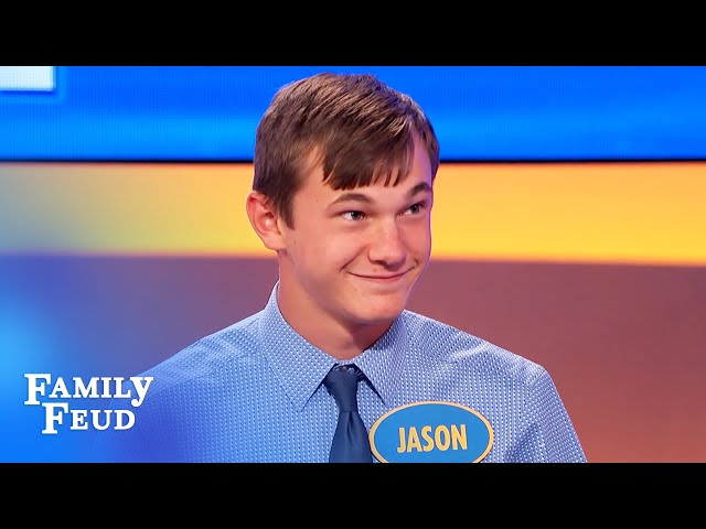 Steve Harvey stopped cold by 14-year-old Jason's answer! | Family Feud