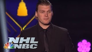 NHL Awards: Robin Lehner's emotional speech after winning Masterton Trophy | NBC Sports