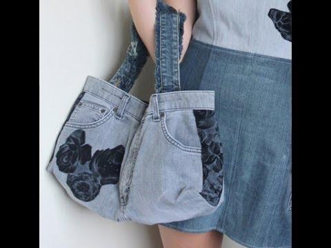 Recycled Jeans BAG (How to make a denim bag) DIY Bag Vol 1B - YouTube 9e4e889eda31b