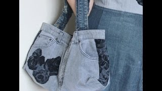 Recycled Jeans BAG (How to make a denim bag) DIY Bag Vol 1B