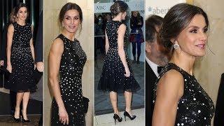 Queen Letizia of Spain Stunning in Carolina Herrera Black Sequin Dots Detailing Dress at ABC Officia