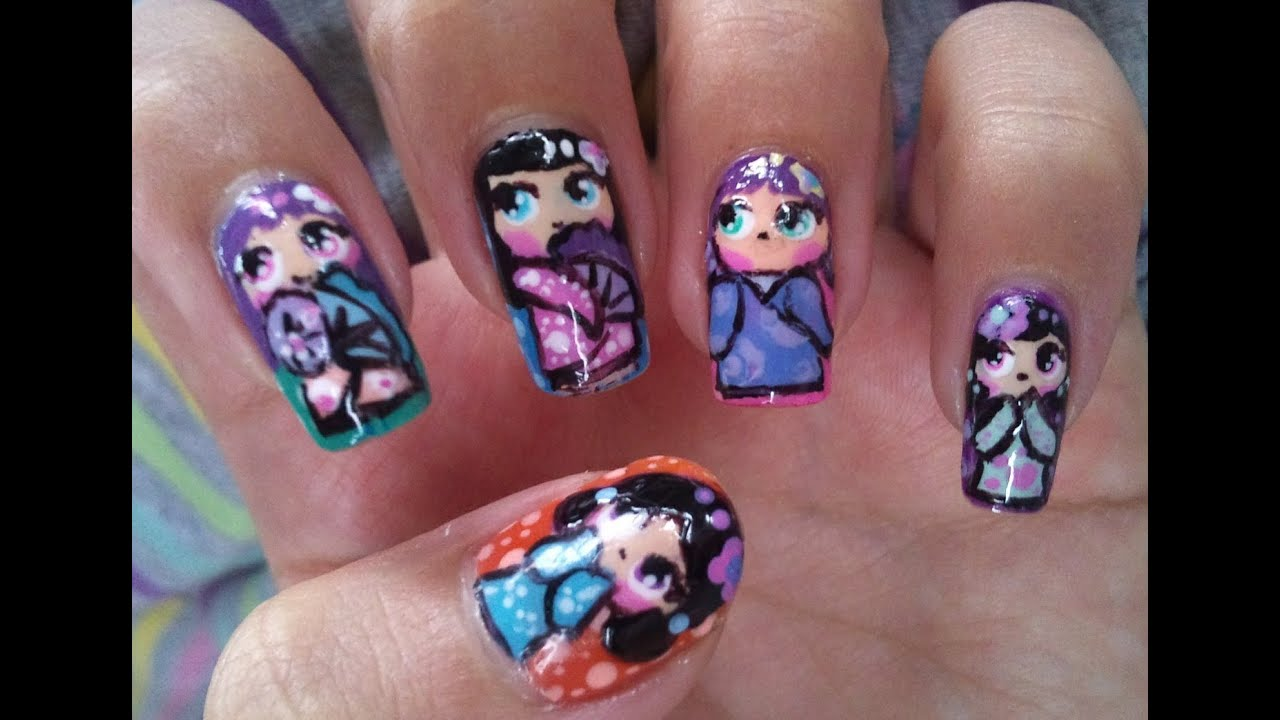 Cute little Geisha nail art tutorial - YouTube