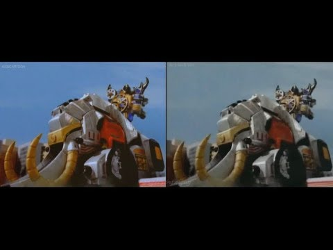 PR Ninja Storm/ Hurricanger Mammothzord First Appearance Split Screen (PR  and Sentai version)