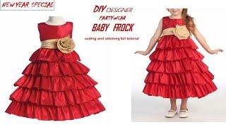 DIY Designer Party wear Baby Frock//बोहोत ही आसान तरीके से बनाये न्यू ईयर बेबी फ्रॉक