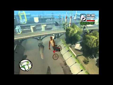 GTA SA - Skoky na BMXce s použití cheatů