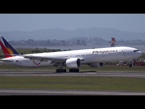 Philippine Airlines 777-3F6ER (Philippines President) | Landing at Auckland Airport