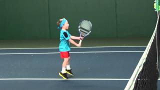 Max (4 years old) practices tennis