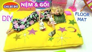 Hướng Dẫn Làm Nệm Và Gối Dễ Thương Cho Barbie / DIY DOLL'S COTTON MAT & PILLOW