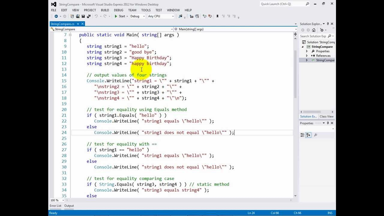 C# 2012 Fundamentals: Comparing strings