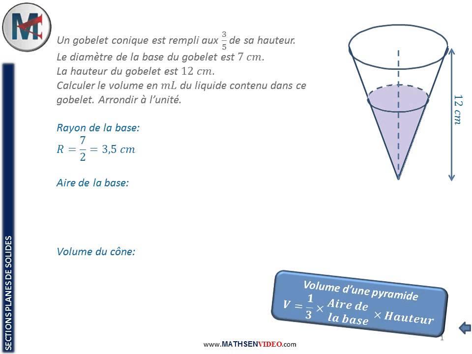 Exercice avec cône 3ème Mathématiques