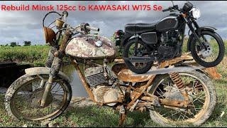 Full restoration motorcycles Minsk 125CC Russia   Restore and rebuild Kawasaki W175 motorcycle