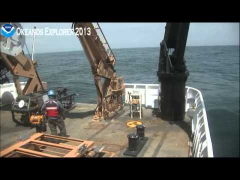 Okeanos Explorer Video Bite: ROV launch - Northeast U.S. Canyons 2013