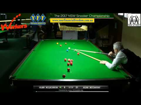 Glen Wilkinson Vs Alan McCarthy, 2017 NSW Snooker Championship