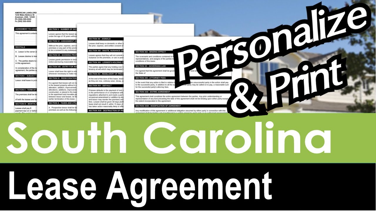 South Carolina Lease Agreement For Rental Property Youtube