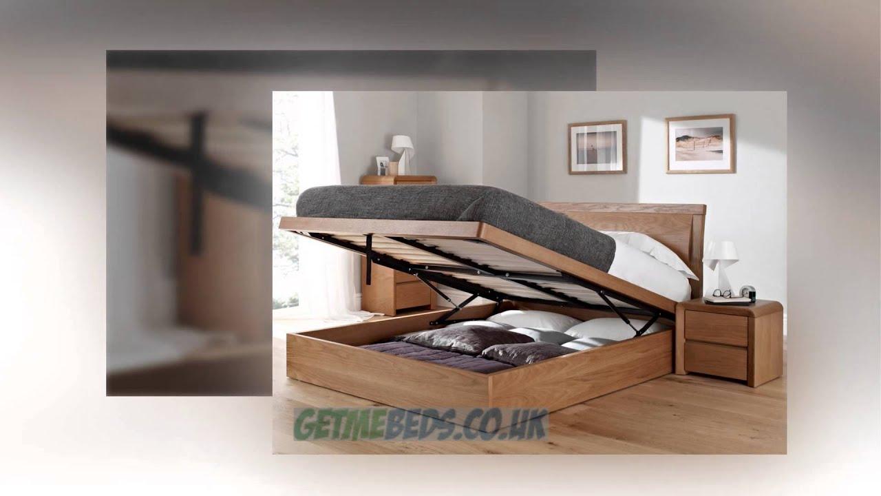 Arran Oak Ottoman Bed - YouTube