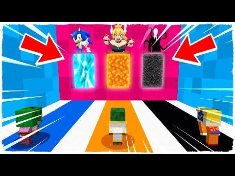 ¡NO ELIJAS LA DIMENSIÓN EQUIVOCADA! Bowsette, Sonic y Slenderman en Minecraft