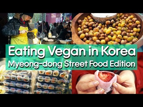 Korean Vegan Street Food in Myeong-dong - EATING VEGAN IN KOREA 🇰🇷 비건 먹거리 찾기 도전: 명동편