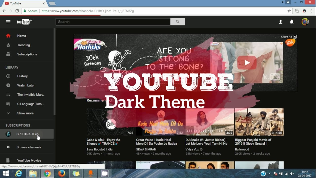How to enable Dark mode on Youtube in PC   Youtube new update only for  Google Chrome