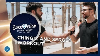 Chingiz 🇦🇿 and Sergey Lazarev 🇷🇺get pumped for the Grand Final