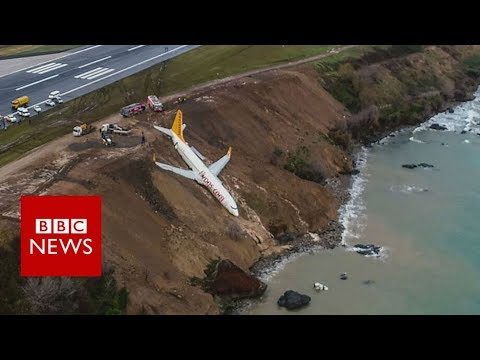 Plane skids off runway at Trabzon Airport in Turkey - BBC News