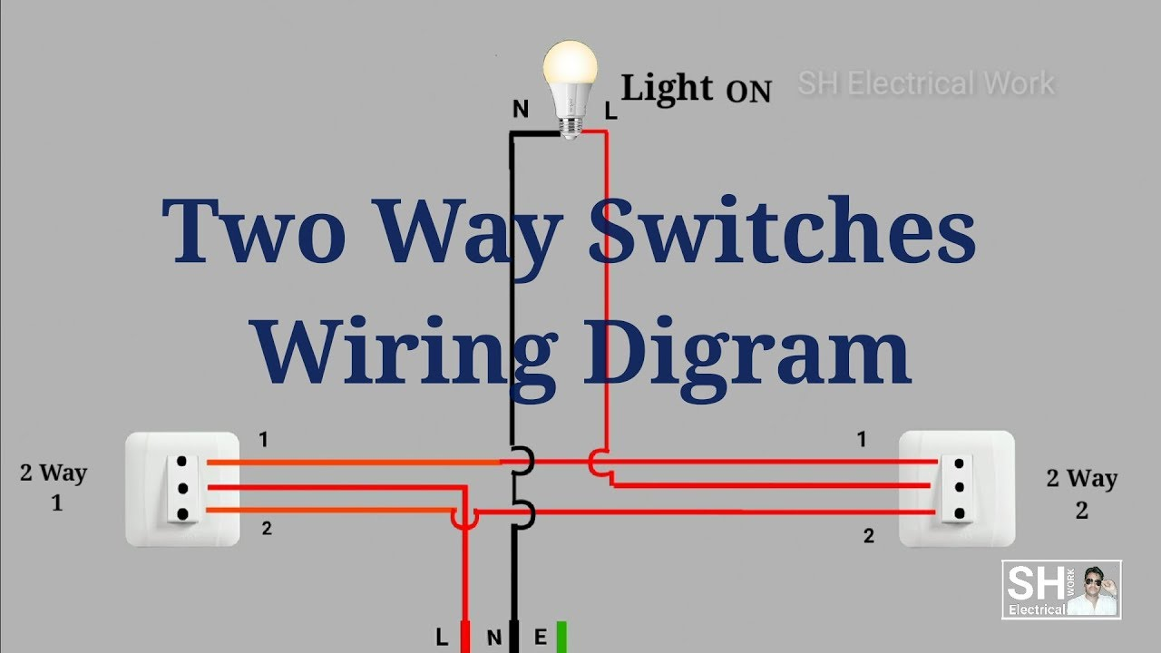 Two Way Switches Wiring Diagram - YouTube | Wiring Two Switches One Light Diagram |  | YouTube