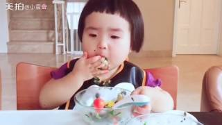 Little Chinese Girl Eating More Fruits and Salad.....:))))